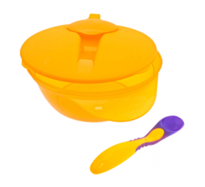 orange weaning bowl and spoon